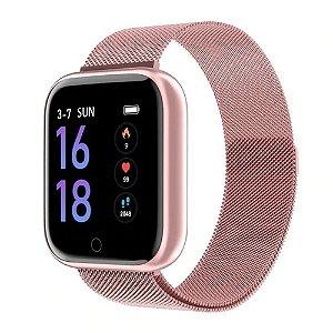Relógio Eletrônico Smartwatch CF T80 - Rosé Milanese - Android e iOS