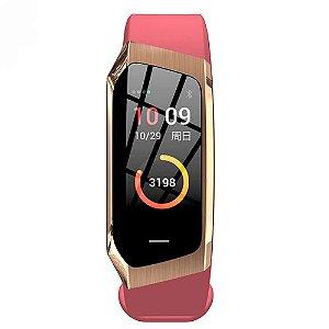 Relógio Eletrônico Smartwatch Talk Band - Rosa com Dourado - Android e IOS