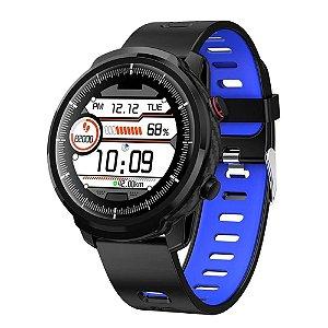 Relógio Smartwatch CF L3 - Preto com Azul -  iPhone ou Android