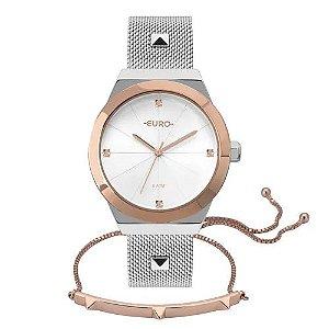 Kit Relógio Euro Unique Bicolor Feminino Prata + Pulseira Spike - EU2035YRI/K5K