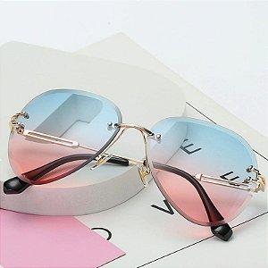 Óculos Feminino Vintage - Lente Rosa com Azul - Sem Aro
