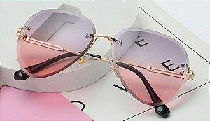 Óculos Feminino Vintage - Lente Cinza com Rosa - Sem Aro