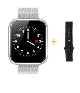 Relógio Eletrônico Smartwatch CF P70 - Prata + Pulseira Extra Prata Silicone