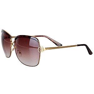 Óculos Feminino Royal Luxo - Marrom com Dourado - Retangular