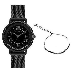 Kit Relógio Euro Crystal Move Feminino - Preto + Pulseira - EU2035YRYGIFT1