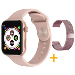 Relógio Smartwatch F10 - Rosa - iOS / Android - 44mm + Pulseira Extra Milanês Rosa