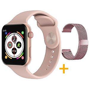Relógio Smartwatch F10 - Rosa - iOS / Android - 44mm + Pulseira Extra Milanês Rosa