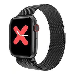 Relógio Eletrônico Smartwatch W68 - Preto Milanês - 44mm - Android e iOS