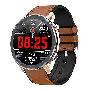 Relógio Eletrônico Smartwatch L11 - Marrom com Detalhes Rosé - IOS e Android