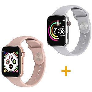 2 Relógios Smartwatch F10 - 1 Rosa e 1 Branco - iOS / Android - 44mm