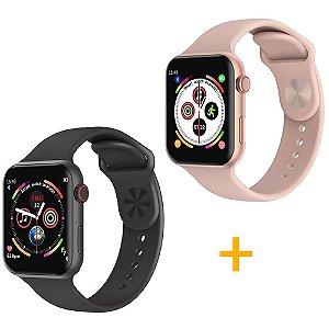 2 Relógios Smartwatch F10 - 1 Rosa e 1 Preto - iOS / Android - 44mm