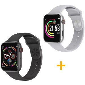2 Relógios Smartwatch F10 - 1 Branco e 1 Preto - iOS / Android - 44mm