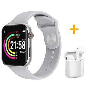 Relógio Smartwatch F10 - Branco - iOS / Android - 44mm + 1 Fone de Ouvido