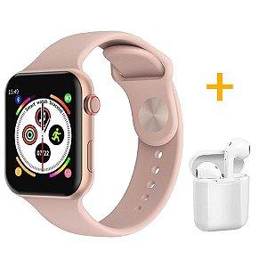 Relógio Smartwatch F10 - Rosa - iOS / Android - 44mm + 1 Fone De Ouvido