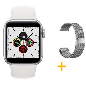 Relógio Smartwatch IWO 12 Pro Série 5 - Branco - 44mm + 1 Pulseira Extra - Prata Milanese