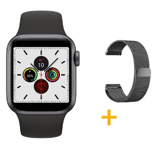 Relógio Smartwatch IWO 12 Pro Série 5 - Preto - 44mm + 1 Pulseira Extra - Preto Milanese