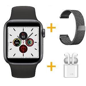 Relógio Smartwatch IWO 12 Pro Série 5 - Preto - 44mm + 1 Pulseira Extra - Preto Milanese + Fone de Ouvido