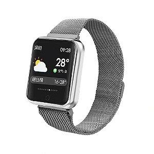 Relógio Eletrônico Smartwatch P68 - Prata - IOS e Android