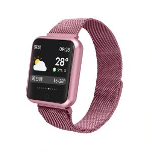 Relógio Eletrônico Smartwatch P68 - Rosa - IOS e Android