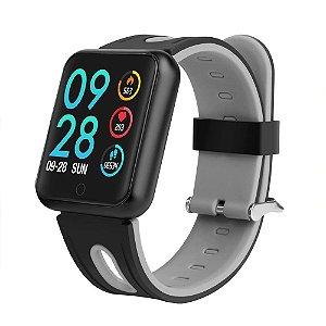 Relógio Eletrônico Smartwatch P68 - Preto com Cinza - IOS e Android