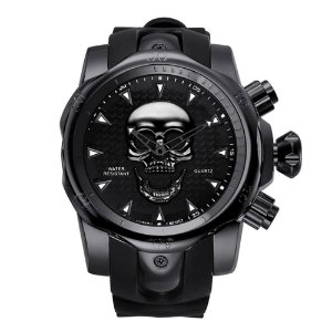 Relógio Masculino Big Dial Skull - Preto - Aço Inox