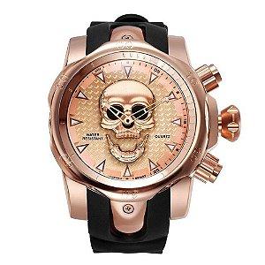 Relógio Masculino Big Dial Skull - Rosé com Preto - Aço Inox