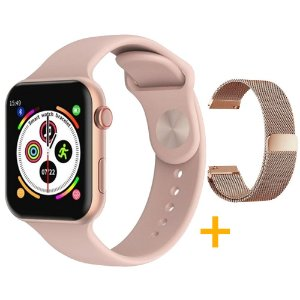 Relógio Smartwatch F10 - Rosa - iOS / Android - 44mm + Pulseira Extra Milanês Rosê Gold