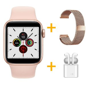 Relógio Smartwatch IWO 12 Pro Série 5 - Rosa - 40mm + 1 Pulseira Extra - Rosê Milanese + Fone de Ouvido