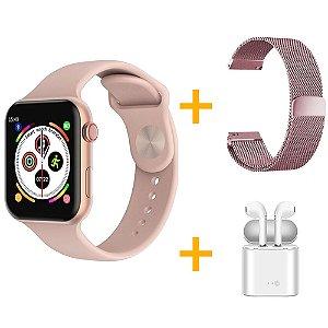 Relógio Smartwatch F10 - Rosa - iOS / Android - 44mm + Pulseira Extra Milanês Rosa + Fone de Ouvido