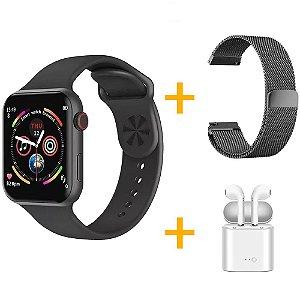 Relógio Smartwatch F10 - Preto - iOS / Android - 44mm + Pulseira Extra Milanês Preto + Fone de Ouvido