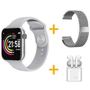 Relógio Smartwatch F10 - Branco - iOS / Android - 44mm + Pulseira Extra Milanês - Prata + Fone de Ouvido