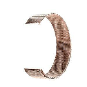 Pulseira de Aço Milanês - Compatível com Smartwatch F10 - Rosé