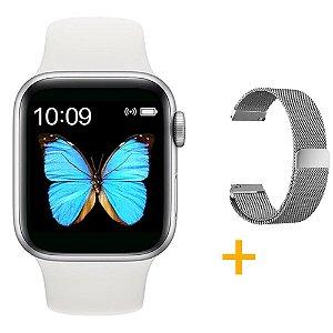 Relógio Smartwatch T500 - Branco + Pulseira Extra Prata Milanês - iOS / Android - 44mm