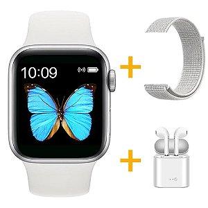 Relógio Smartwatch T500 - Branco + Pulseira Extra Nylon + Fone de Ouvido - iOS / Android - 44mm