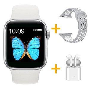 Relógio Smartwatch T500 - Branco + Pulseira Extra Borracha Cinza com Branco + Fone de Ouvido - iOS / Android - 44mm