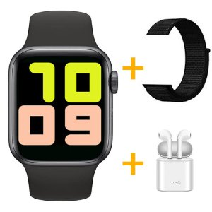 Relógio Smartwatch T500 - Preto + Pulseira Extra Nylon Preto + Fone de Ouvido - iOS / Android - 44mm