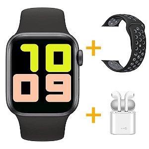 Relógio Smartwatch T500 - Preto + Pulseira Extra Borracha Preto + Fone de Ouvido - iOS / Android - 44mm