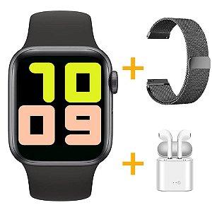 Relógio Smartwatch T500 - Preto + Pulseira Extra Prata Milanês + Fone de Ouvido - iOS / Android - 44mm