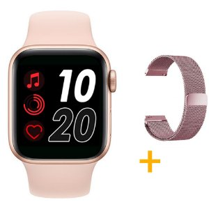 Relógio Smartwatch T500 - Rosa + Pulseira Extra Rosa Milanês - iOS / Android - 44mm