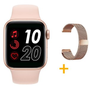 Relógio Smartwatch T500 - Rosa + Pulseira Extra Rose Milanês - iOS / Android - 44mm