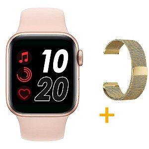 Relógio Smartwatch T500 - Rosa + Pulseira Extra Dourado Milanês - iOS / Android - 44mm