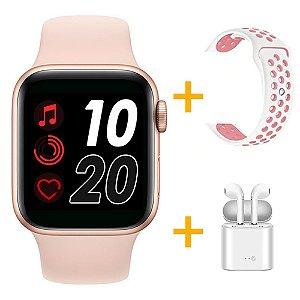 Relógio Smartwatch T500 - Rosa + Pulseira Extra Borracha Branco com Rosa + Fone de Ouvido - iOS / Android - 44mm