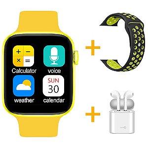 Relógio Smartwatch IWO T5 PRO - Amarelo + Pulseira Extra Preto com Verde + Fone de Ouvido - iOS / Android - 44mm