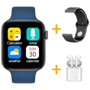 Relógio Smartwatch IWO T5 PRO - Azul Escuro + Pulseira Extra Borracha Preto + Fone de Ouvido - iOS / Android - 44mm