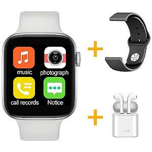 Relógio Smartwatch IWO T5 PRO - Branco + Pulseira Extra Borracha Preto + Fone de Ouvido - iOS / Android - 44mm
