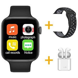 Relógio Smartwatch IWO T5 PRO - Preto + Pulseira Extra Borracha Preto + Fone de Ouvido - iOS / Android - 44mm