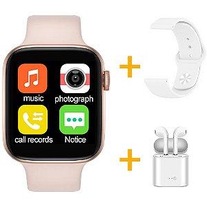 Relógio Smartwatch IWO T5 PRO - Rosa + Pulseira Extra Borracha Branco + Fone de Ouvido - iOS / Android - 44mm