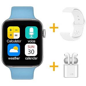 Relógio Smartwatch IWO T5 PRO - Azul Claro + Pulseira Extra Borracha Branco + Fone de Ouvido - iOS / Android - 44mm