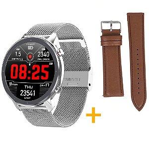Relógio Eletrônico Smartwatch L11 - Prata + Pulseira Extra Marrom - IOS e Android