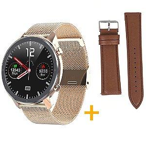 Relógio Eletrônico Smartwatch L11 - Rosé Gold  + Pulseira Extra Marrom - IOS e Android